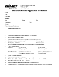 Application Worksheet